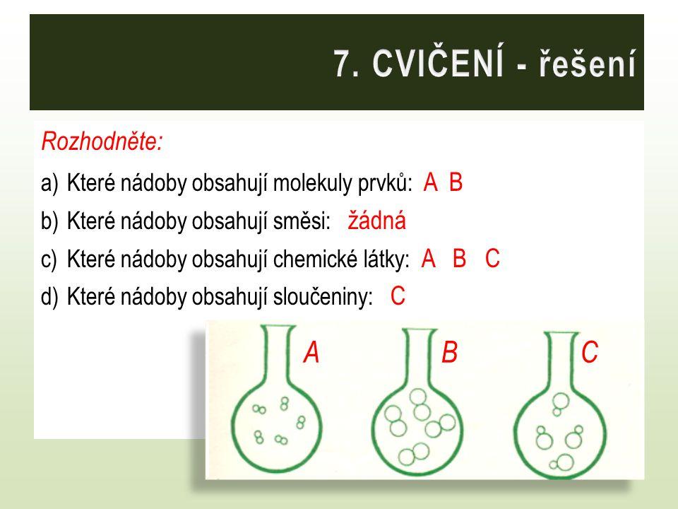 Rozhodněte: a)Které nádoby obsahují molekuly prvků: A B b)Které nádoby obsahují směsi: žádná c)Které nádoby obsahují chemické látky: A B C d)Které nád