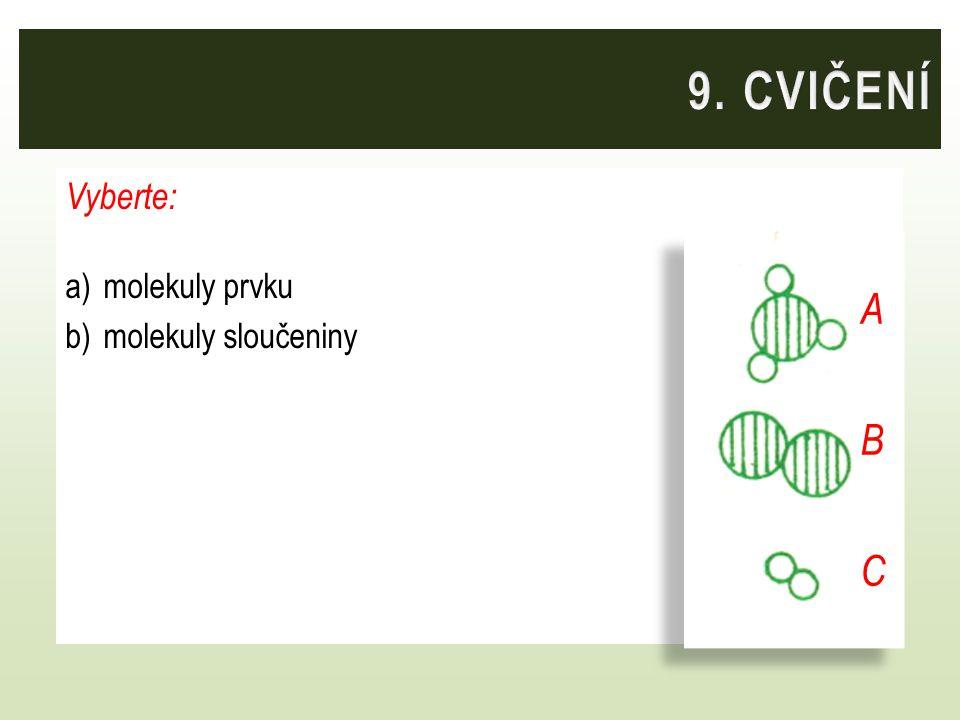 Vyberte: a)molekuly prvku b)molekuly sloučeniny ABCABC