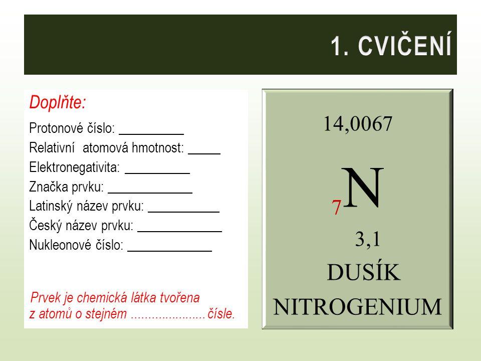 Doplňte: Protonové číslo: 7 Relativní atomová hmotnost: 14,0067 Elektronegativita: 3,1 Značka prvku: N Latinský název prvku: Nitrogenium Český název prvku: Dusík Nukleonové číslo: 14 Prvek je chemická látka tvořena z atomů o stejném protonovém čísle.