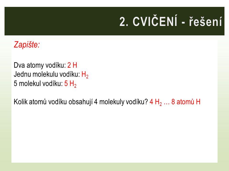 Zapište: Dva atomy vodíku: 2 H Jednu molekulu vodíku: H 2 5 molekul vodíku: 5 H 2 Kolik atomů vodíku obsahují 4 molekuly vodíku? 4 H 2 … 8 atomů H