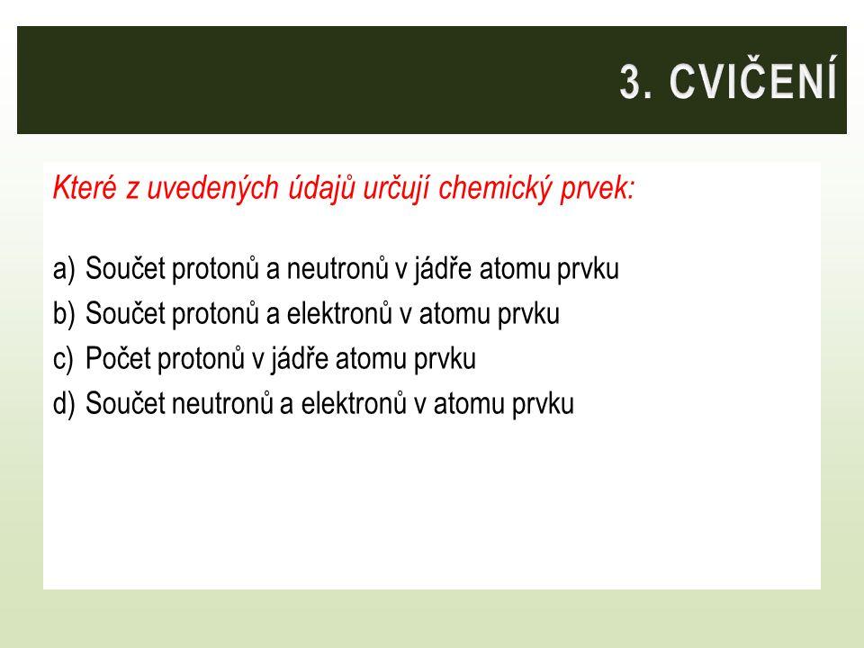 Které z uvedených údajů určují chemický prvek: a)Součet protonů a neutronů v jádře atomu prvku b)Součet protonů a elektronů v atomu prvku c)Počet protonů v jádře atomu prvku d)Součet neutronů a elektronů v atomu prvku