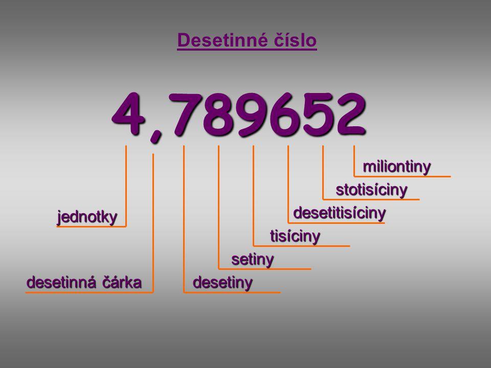 4,789652 Desetinné číslo jednotky desetinná čárka desetiny setiny tisíciny desetitisíciny stotisíciny miliontiny