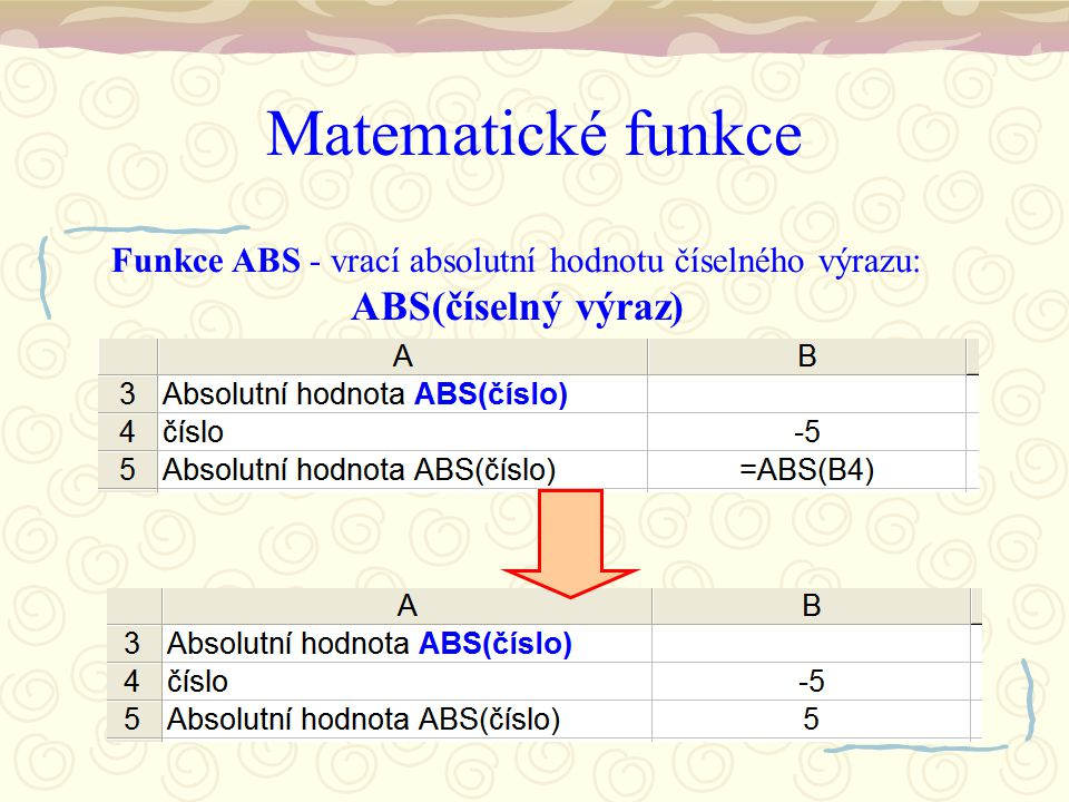 Matematické funkce Funkce ABS - vrací absolutní hodnotu číselného výrazu: ABS(číselný výraz)