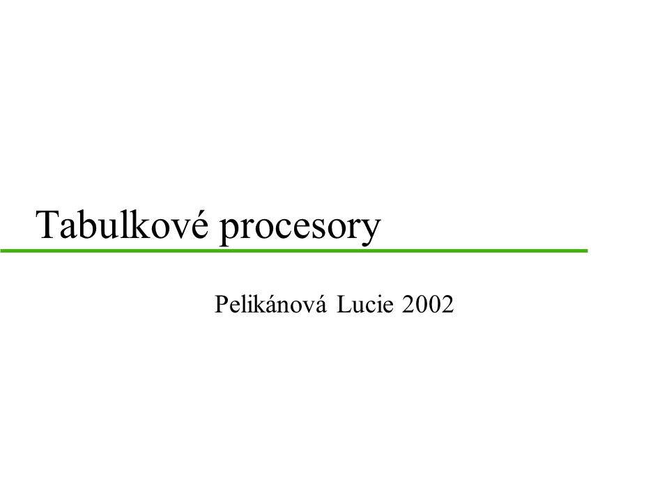 Tabulkové procesory Pelikánová Lucie 2002