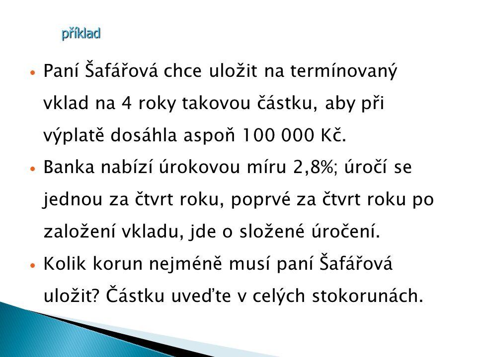 Paní Šafářová chce uložit na termínovaný vklad na 4 roky takovou částku, aby při výplatě dosáhla aspoň 100 000 Kč.