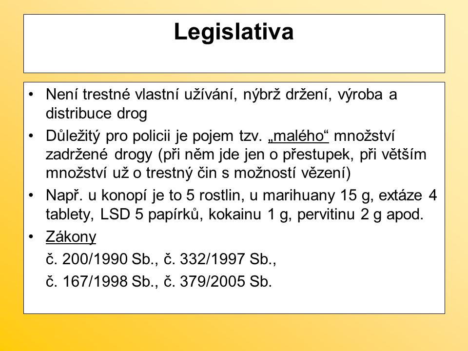 """Legislativa Není trestné vlastní užívání, nýbrž držení, výroba a distribuce drog Důležitý pro policii je pojem tzv. """"malého"""" množství zadržené drogy ("""