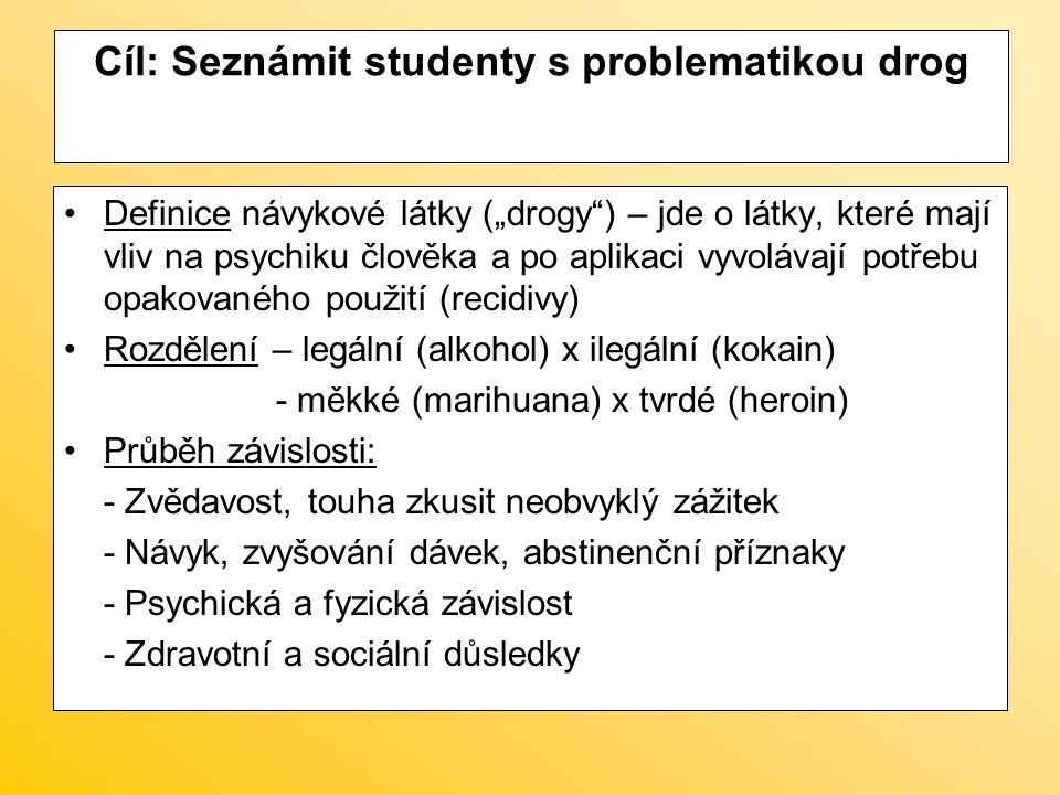 """Cíl: Seznámit studenty s problematikou drog Definice návykové látky (""""drogy"""") – jde o látky, které mají vliv na psychiku člověka a po aplikaci vyvoláv"""