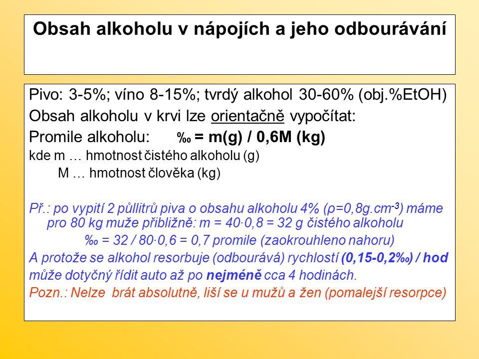 Obsah alkoholu v nápojích a jeho odbourávání Pivo: 3-5%; víno 8-15%; tvrdý alkohol 30-60% (obj.%EtOH) Obsah alkoholu v krvi lze orientačně vypočítat: