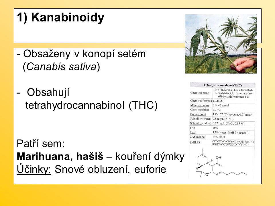 1) Kanabinoidy - Obsaženy v konopí setém (Canabis sativa) -Obsahují tetrahydrocannabinol (THC) Patří sem: Marihuana, hašiš – kouření dýmky Účinky: Sno