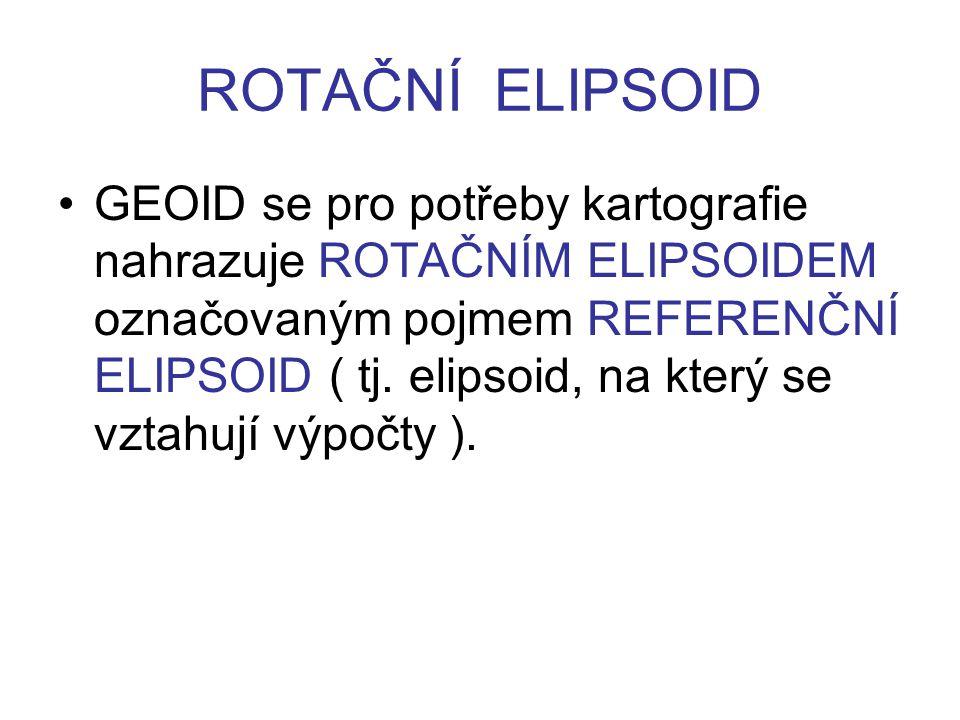 ROTAČNÍ ELIPSOID GEOID se pro potřeby kartografie nahrazuje ROTAČNÍM ELIPSOIDEM označovaným pojmem REFERENČNÍ ELIPSOID ( tj. elipsoid, na který se vzt