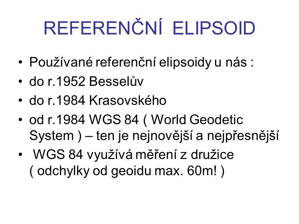 REFERENČNÍ ELIPSOID Používané referenční elipsoidy u nás : do r.1952 Besselův do r.1984 Krasovského od r.1984 WGS 84 ( World Geodetic System ) – ten j