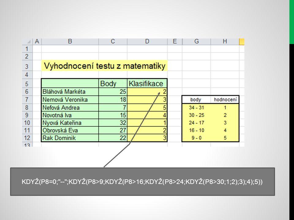 KDYŽ(P8=0; -- ;KDYŽ(P8>9;KDYŽ(P8>16;KDYŽ(P8>24;KDYŽ(P8>30;1;2);3);4);5))