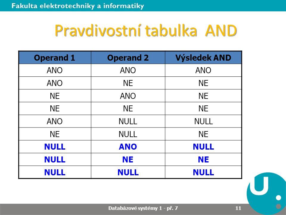 Pravdivostní tabulka AND Operand 1Operand 2Výsledek AND ANO NE ANONE ANONULL NENULLNE NULLANONULL NE NULL Databázové systémy 1 - př. 7 11