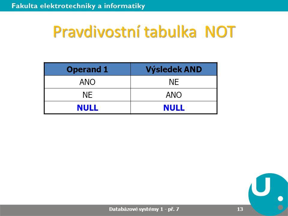 Pravdivostní tabulka NOT Operand 1Výsledek AND ANONE ANO NULL Databázové systémy 1 - př. 7 13