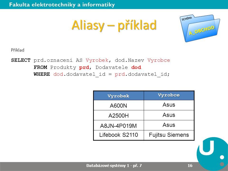 Aliasy – příklad Příklad SELECT prd.oznaceni AS Vyrobek, dod.Nazev Vyrobce FROM Produkty prd, Dodavatele dod WHERE dod.dodavatel_id = prd.dodavatel_id