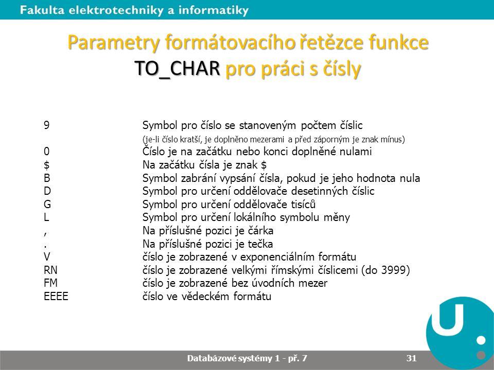 Parametry formátovacího řetězce funkce TO_CHAR pro práci s čísly 9 Symbol pro číslo se stanoveným počtem číslic (je-li číslo kratší, je doplněno mezer