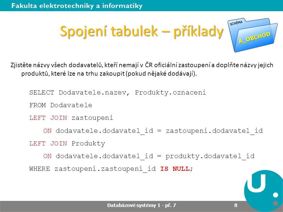 Spojení tabulek – příklady Zjistěte názvy všech dodavatelů, kteří nemají v ČR oficiální zastoupení a doplňte názvy jejich produktů, které lze na trhu