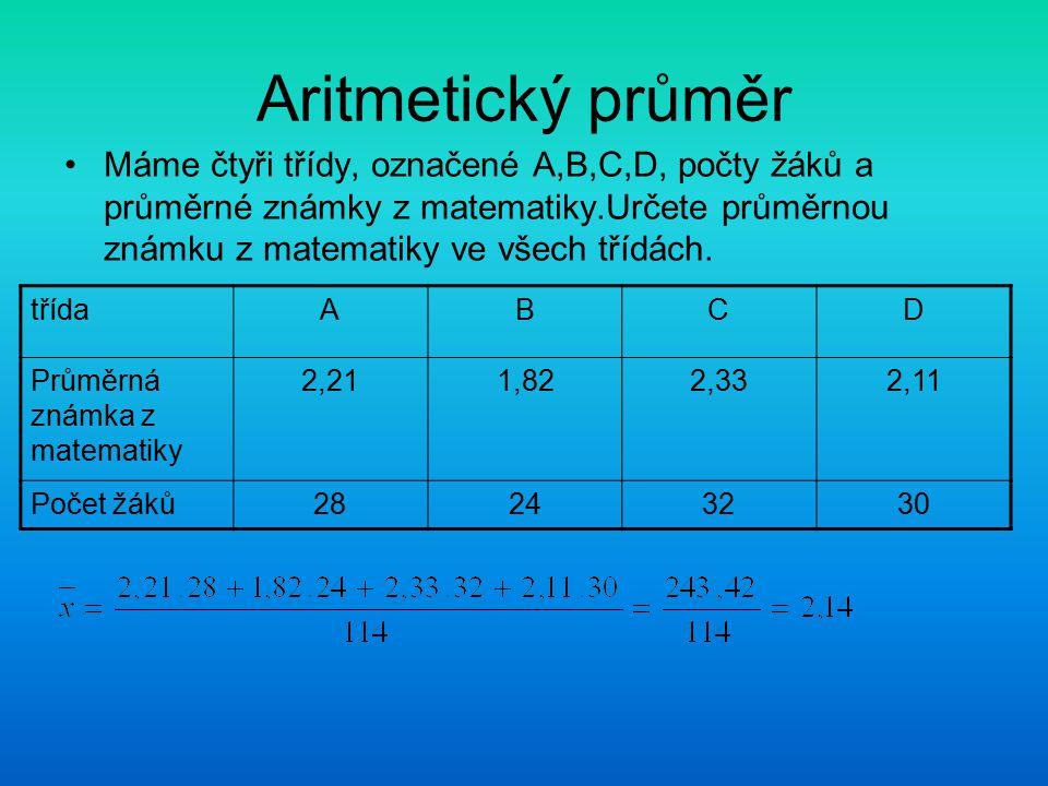 Aritmetický průměr Máme čtyři třídy, označené A,B,C,D, počty žáků a průměrné známky z matematiky.Určete průměrnou známku z matematiky ve všech třídách