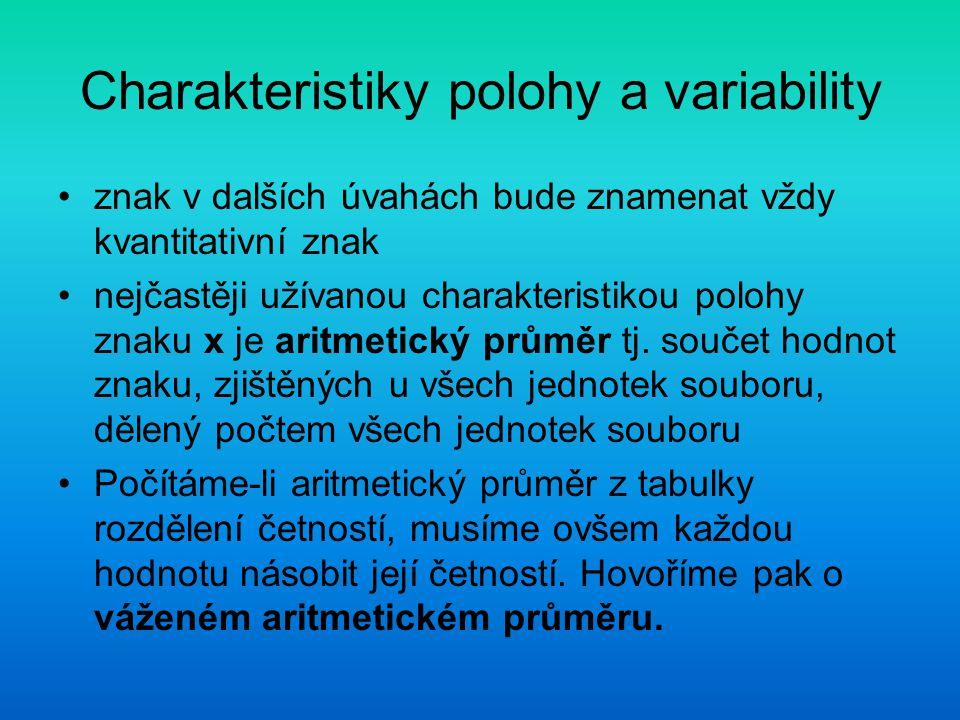 Charakteristiky polohy a variability znak v dalších úvahách bude znamenat vždy kvantitativní znak nejčastěji užívanou charakteristikou polohy znaku x