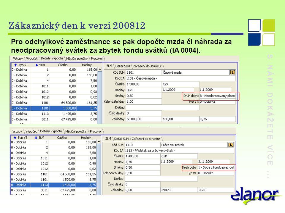 S NÁMI DOKÁŽETE VÍCE... Zákaznický den k verzi 200812 Pro odchylkové zaměstnance se pak dopočte mzda či náhrada za neodpracovaný svátek za zbytek fond