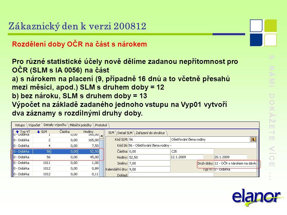 S NÁMI DOKÁŽETE VÍCE... Zákaznický den k verzi 200812 Rozdělení doby OČR na část s nárokem Pro různé statistické účely nově dělíme zadanou nepřítomnos