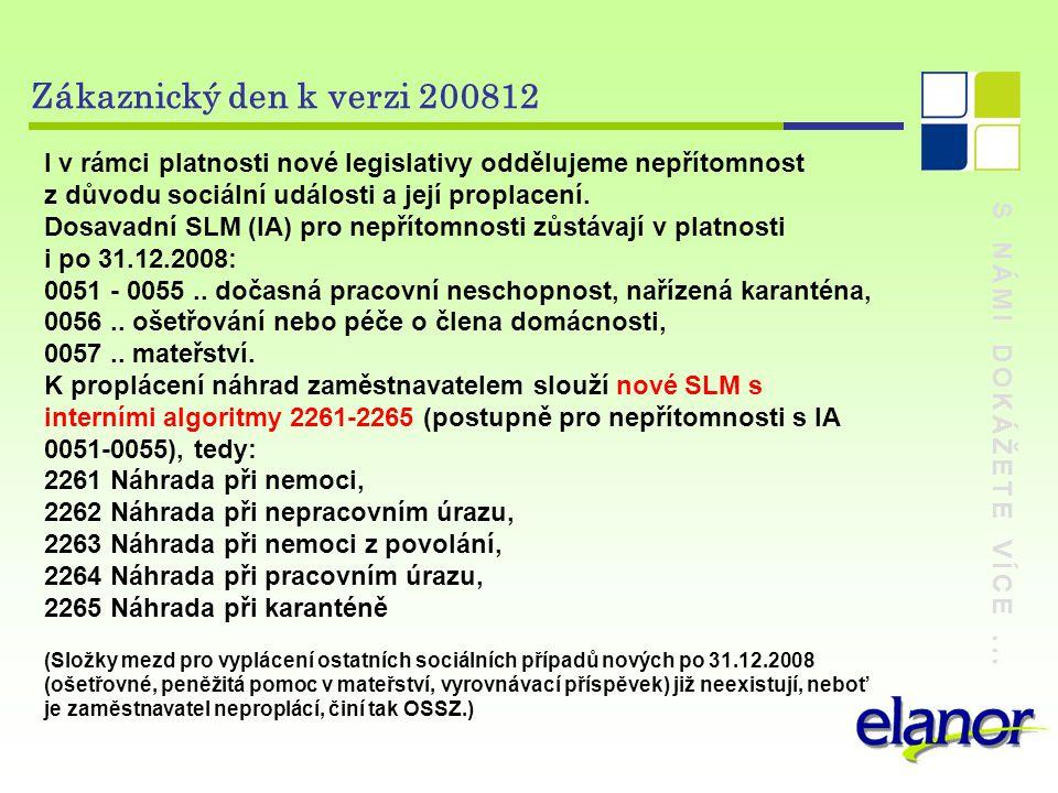 S NÁMI DOKÁŽETE VÍCE... Zákaznický den k verzi 200812 I v rámci platnosti nové legislativy oddělujeme nepřítomnost z důvodu sociální události a její p