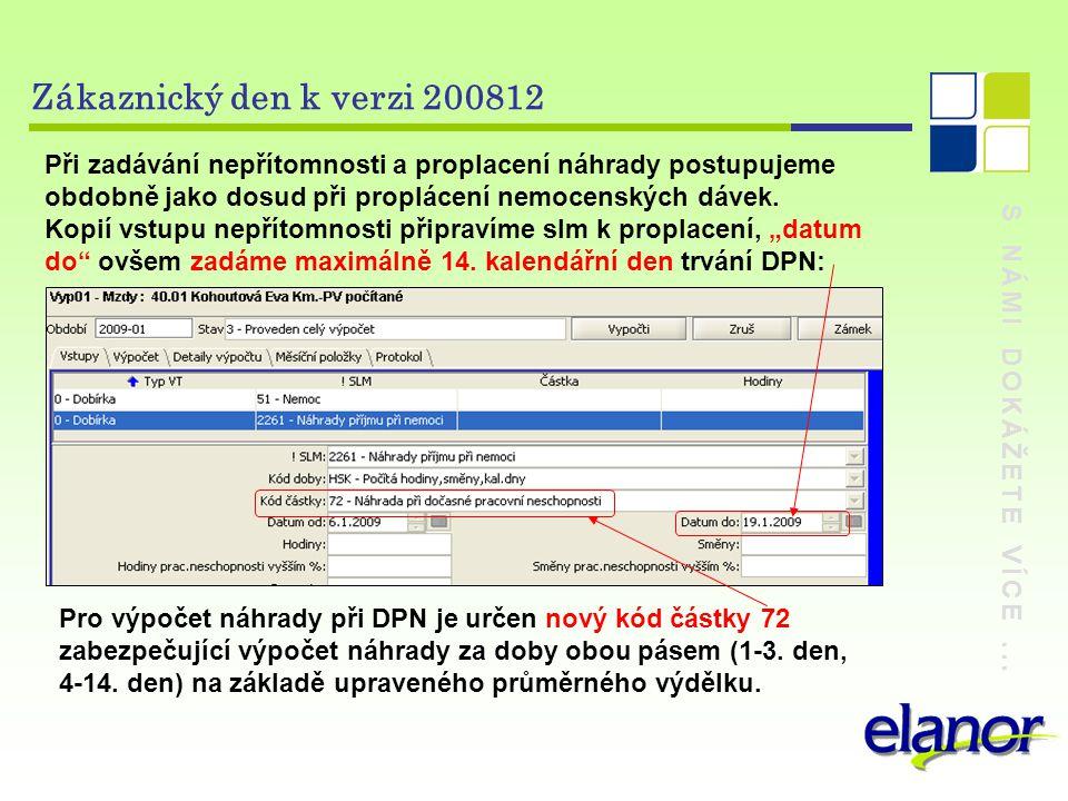 S NÁMI DOKÁŽETE VÍCE... Zákaznický den k verzi 200812 Při zadávání nepřítomnosti a proplacení náhrady postupujeme obdobně jako dosud při proplácení ne