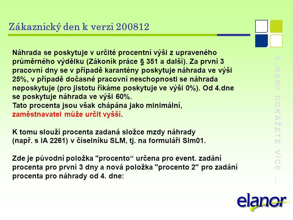S NÁMI DOKÁŽETE VÍCE... Zákaznický den k verzi 200812 Náhrada se poskytuje v určité procentní výši z upraveného průměrného výdělku (Zákoník práce § 35