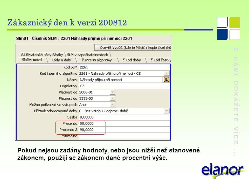 S NÁMI DOKÁŽETE VÍCE... Zákaznický den k verzi 200812 Pokud nejsou zadány hodnoty, nebo jsou nižší než stanovené zákonem, použijí se zákonem dané proc
