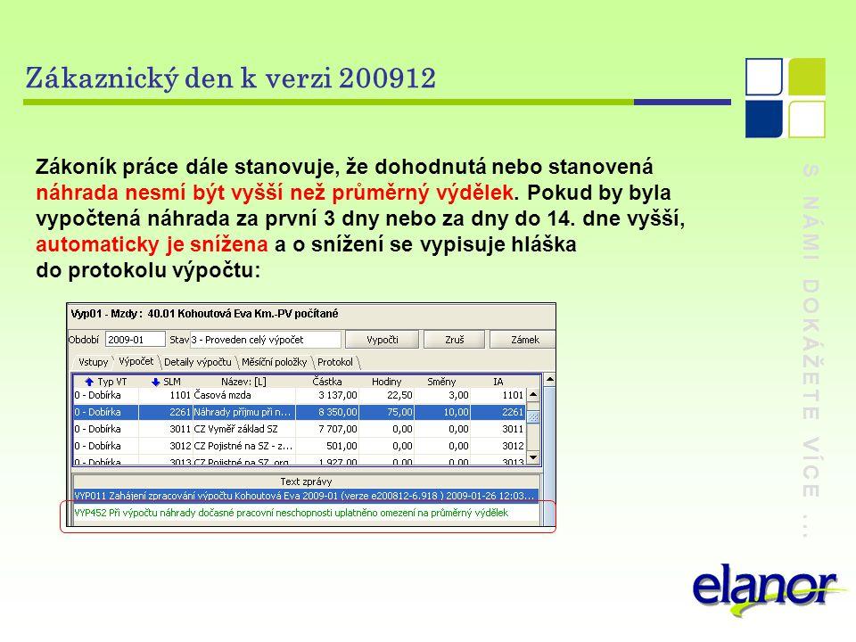 S NÁMI DOKÁŽETE VÍCE... Zákaznický den k verzi 200912 Zákoník práce dále stanovuje, že dohodnutá nebo stanovená náhrada nesmí být vyšší než průměrný v