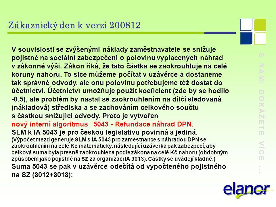 S NÁMI DOKÁŽETE VÍCE... Zákaznický den k verzi 200812 V souvislosti se zvýšenými náklady zaměstnavatele se snižuje pojistné na sociální zabezpečení o