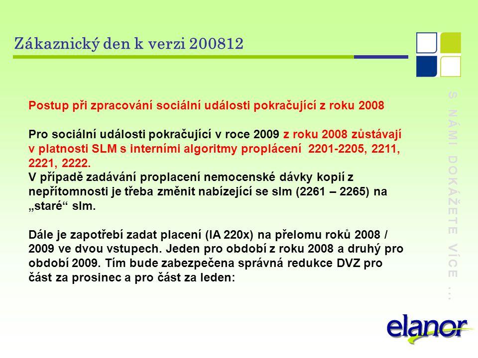 S NÁMI DOKÁŽETE VÍCE... Zákaznický den k verzi 200812 Postup při zpracování sociální události pokračující z roku 2008 Pro sociální události pokračujíc