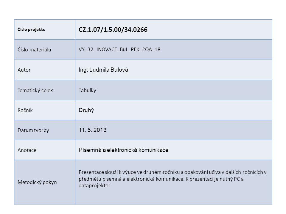 Číslo projektu CZ.1.07/1.5.00/34.0266 Číslo materiáluVY_32_INOVACE_BuL_PEK_2OA_18 Autor Ing. Ludmila Bulová Tematický celekTabulky Ročník Druhý Datum