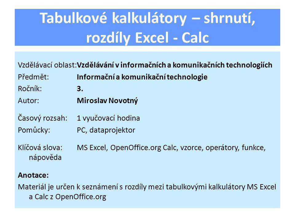 Tabulkové kalkulátory – shrnutí, rozdíly Excel - Calc Vzdělávací oblast:Vzdělávání v informačních a komunikačních technologiích Předmět:Informační a komunikační technologie Ročník:3.