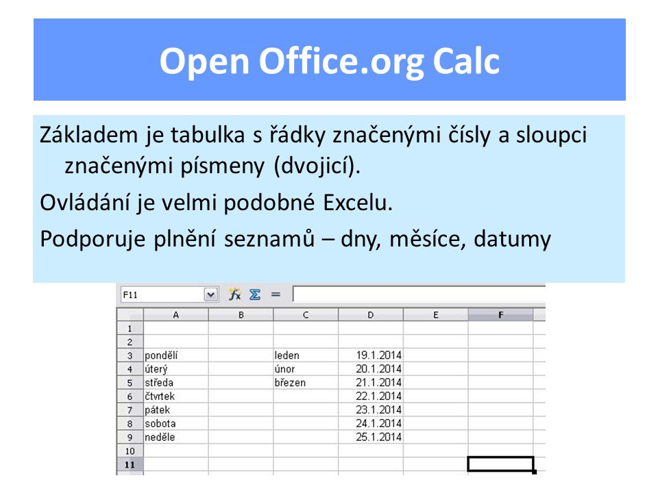Základem je tabulka s řádky značenými čísly a sloupci značenými písmeny (dvojicí).