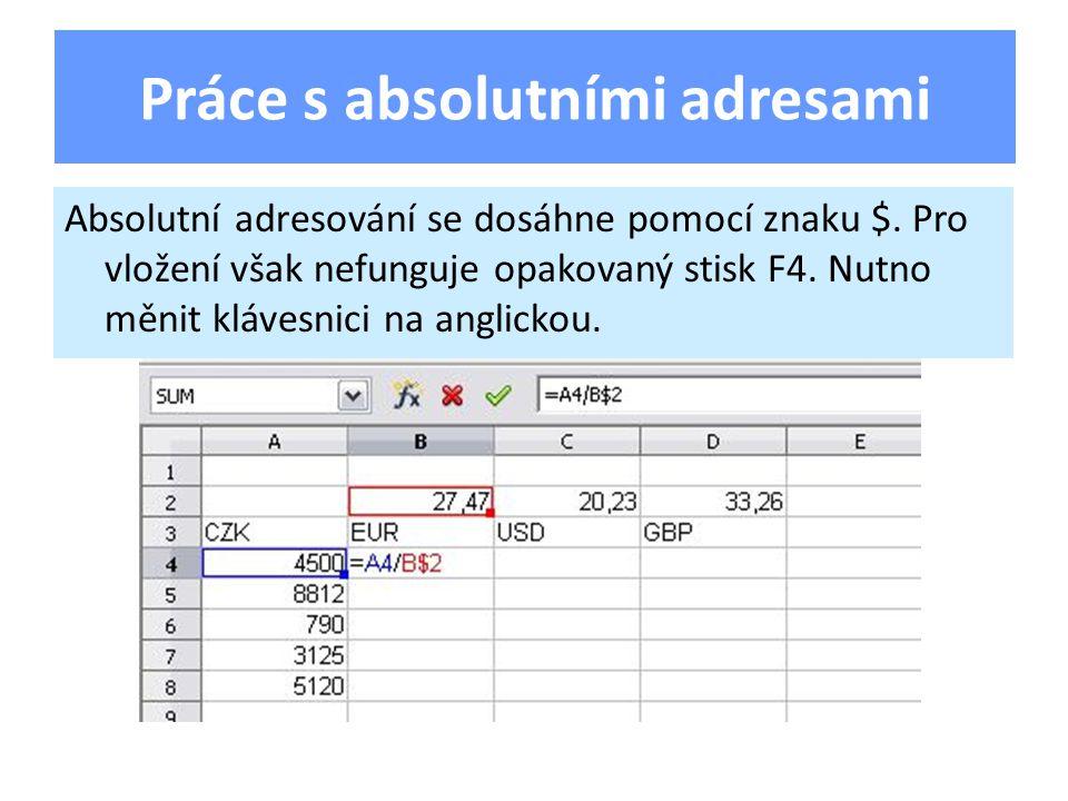 Absolutní adresování se dosáhne pomocí znaku $.Pro vložení však nefunguje opakovaný stisk F4.