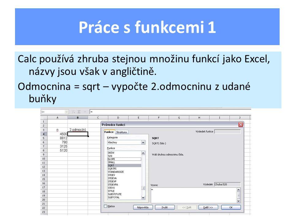 Calc používá zhruba stejnou množinu funkcí jako Excel, názvy jsou však v angličtině.
