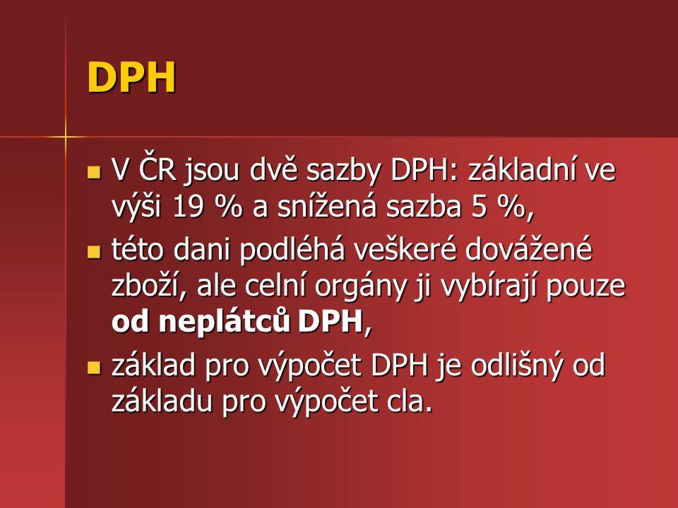 DPH V ČR jsou dvě sazby DPH: základní ve výši 19 % a snížená sazba 5 %, této dani podléhá veškeré dovážené zboží, ale celní orgány ji vybírají pouze o