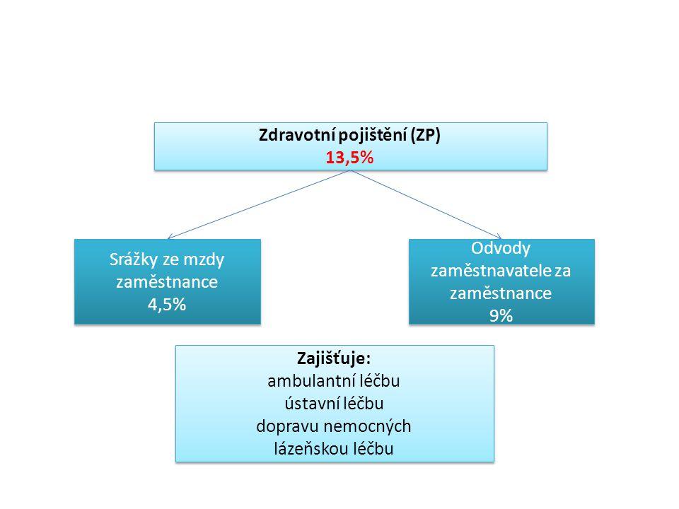 Zdravotní pojištění (ZP) 13,5% Zdravotní pojištění (ZP) 13,5% Srážky ze mzdy zaměstnance 4,5% Srážky ze mzdy zaměstnance 4,5% Odvody zaměstnavatele za zaměstnance 9% Odvody zaměstnavatele za zaměstnance 9% Zajišťuje: ambulantní léčbu ústavní léčbu dopravu nemocných lázeňskou léčbu Zajišťuje: ambulantní léčbu ústavní léčbu dopravu nemocných lázeňskou léčbu
