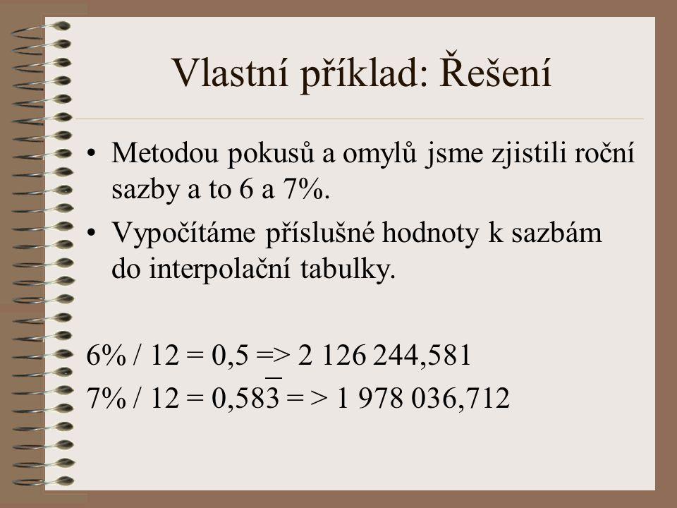 Vlastní příklad: Řešení Metodou pokusů a omylů jsme zjistili roční sazby a to 6 a 7%. Vypočítáme příslušné hodnoty k sazbám do interpolační tabulky. 6
