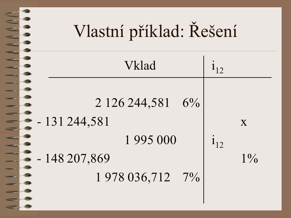 Vlastní příklad: Řešení Vkladi 12 2 126 244,5816% - 131 244,581x 1 995 000i 12 - 148 207,8691% 1 978 036,7127%