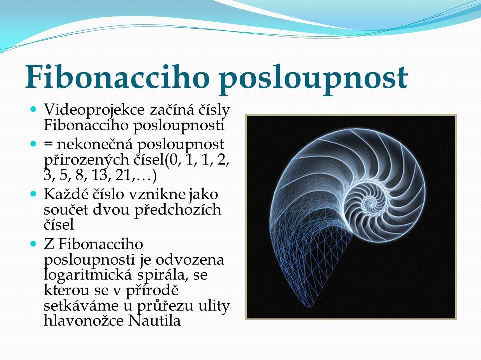 Fibonacciho posloupnost Videoprojekce začíná čísly Fibonacciho posloupnosti = nekonečná posloupnost přirozených čísel(0, 1, 1, 2, 3, 5, 8, 13, 21,…) K