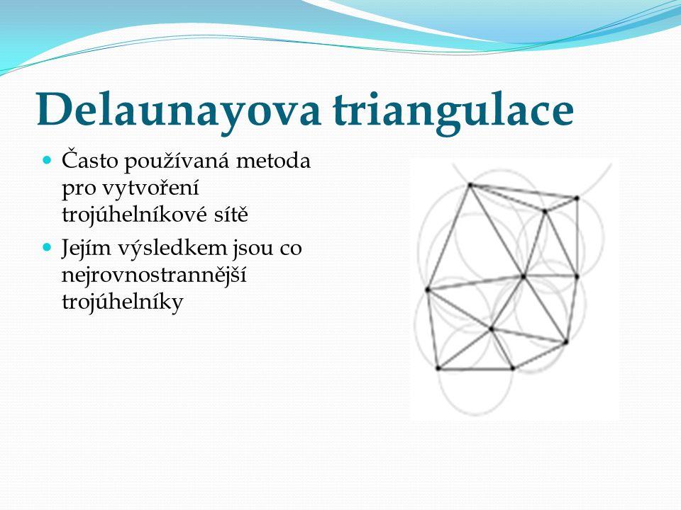 Delaunayova triangulace Často používaná metoda pro vytvoření trojúhelníkové sítě Jejím výsledkem jsou co nejrovnostrannější trojúhelníky