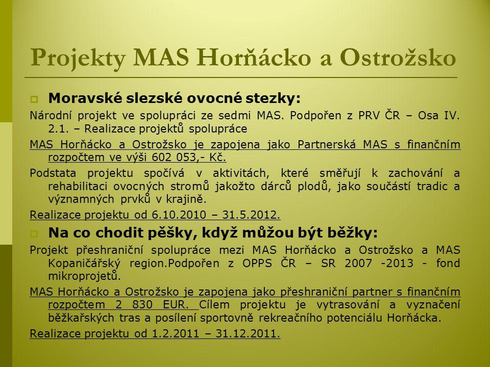 Projekty MAS Horňácko a Ostrožsko  Moravské slezské ovocné stezky: Národní projekt ve spolupráci ze sedmi MAS.