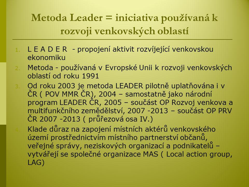 Metoda Leader = iniciativa používaná k rozvoji venkovských oblastí 1.