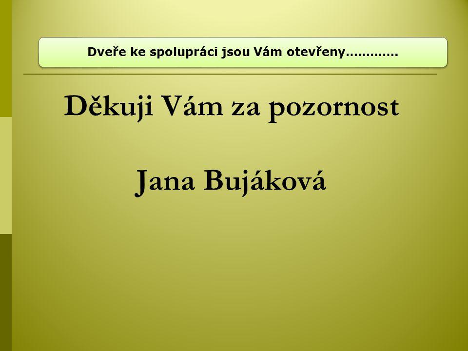 Děkuji Vám za pozornost Jana Bujáková Dveře ke spolupráci jsou Vám otevřeny………….