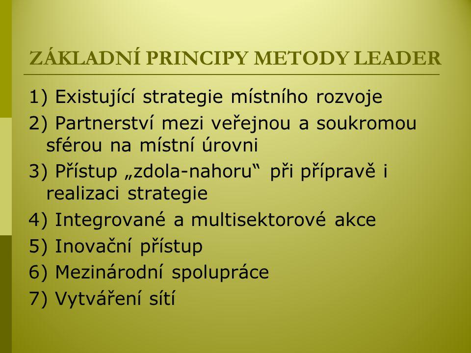 """ZÁKLADNÍ PRINCIPY METODY LEADER 1) Existující strategie místního rozvoje 2) Partnerství mezi veřejnou a soukromou sférou na místní úrovni 3) Přístup """"zdola-nahoru při přípravě i realizaci strategie 4) Integrované a multisektorové akce 5) Inovační přístup 6) Mezinárodní spolupráce 7) Vytváření sítí"""