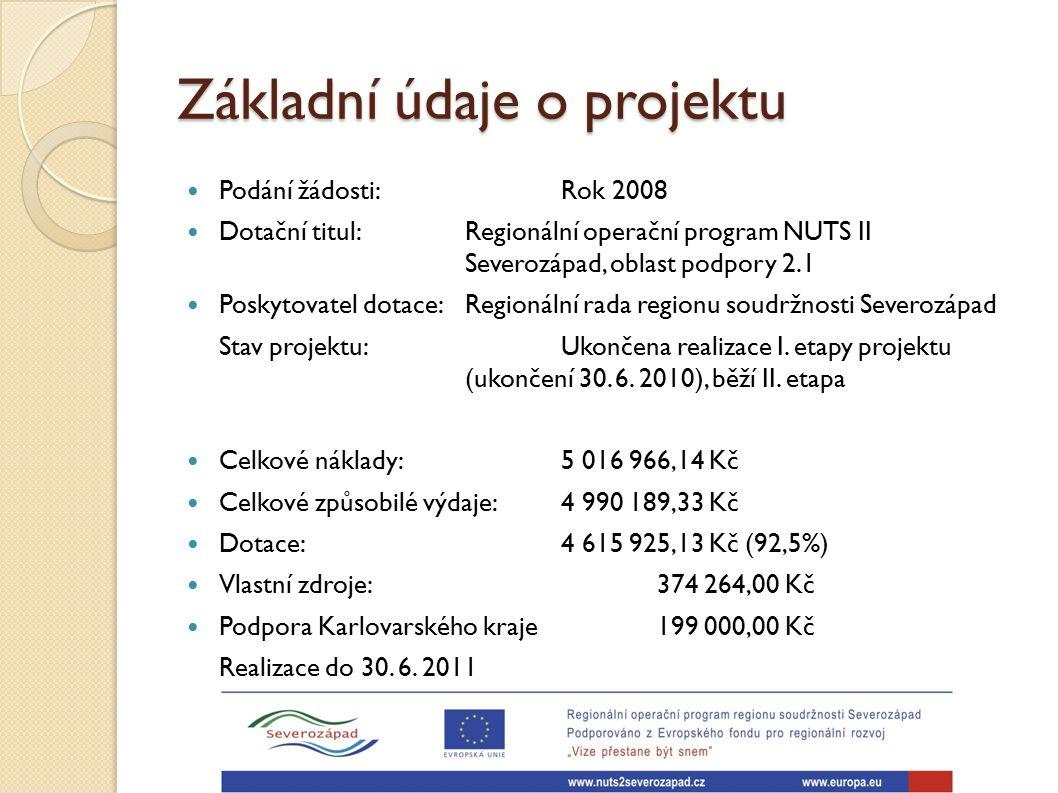Základní údaje o projektu Podání žádosti: Rok 2008 Dotační titul: Regionální operační program NUTS II Severozápad, oblast podpory 2.1 Poskytovatel dot