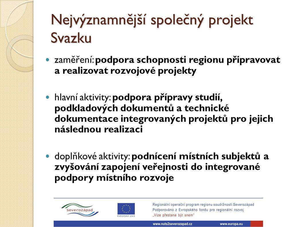 Nejvýznamnější společný projekt Svazku zaměření: podpora schopnosti regionu připravovat a realizovat rozvojové projekty hlavní aktivity: podpora přípr