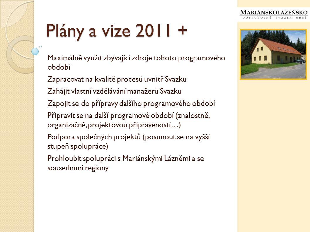 Plány a vize 2011 + Maximálně využít zbývající zdroje tohoto programového období Zapracovat na kvalitě procesů uvnitř Svazku Zahájit vlastní vzděláván